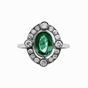Emerald & Diamond Cluster Ring - 0.80ct